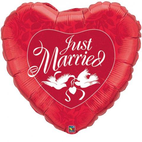 Jumbo hart Just Married Folieballon foto