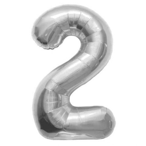 Cijfer 2 zilver Folieballon 85cm hoog foto