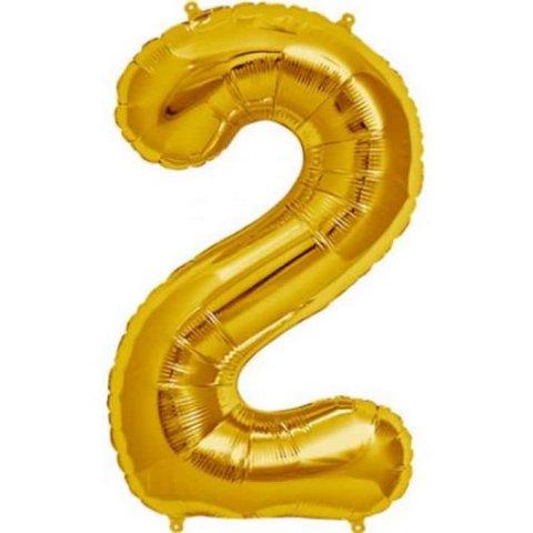 Cijfer 2 goud Folieballon 85cm hoog foto