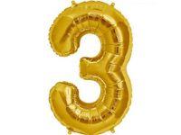 Cijfer 3 goud Folieballon 85cm hoog