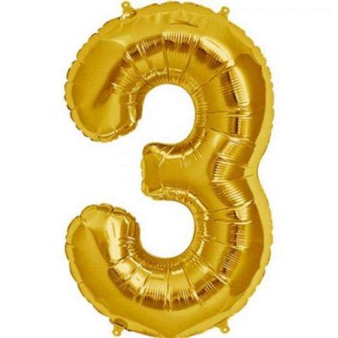 Cijfer 3 goud Folieballon 85cm hoog foto