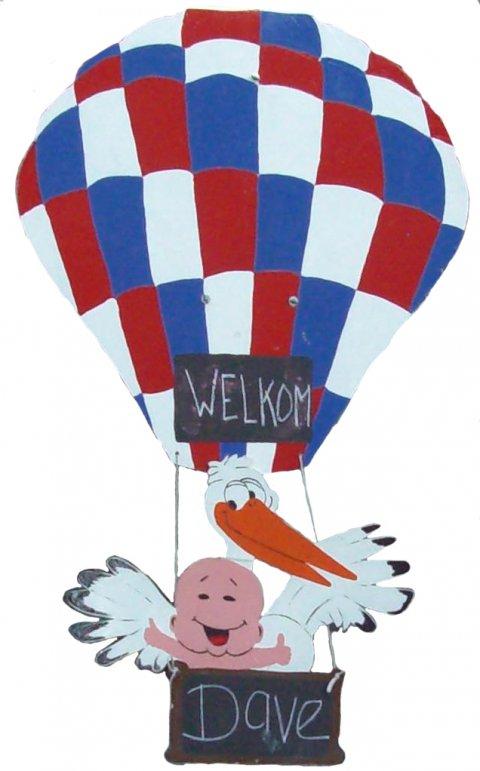 Ooievaar in rwb ballon foto