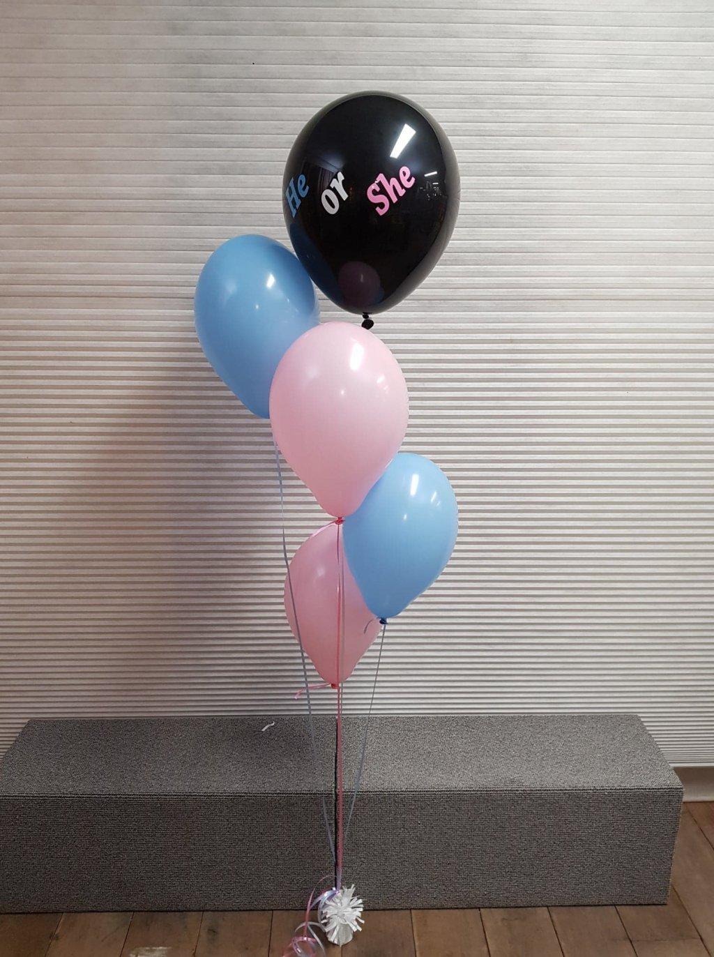 Gender reveal ballon tros he or she foto