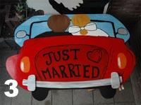Huwelijksbord Just married